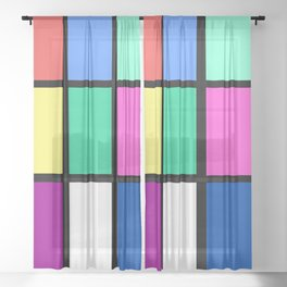 80s Retro Vintage Inspired Sheer Curtain