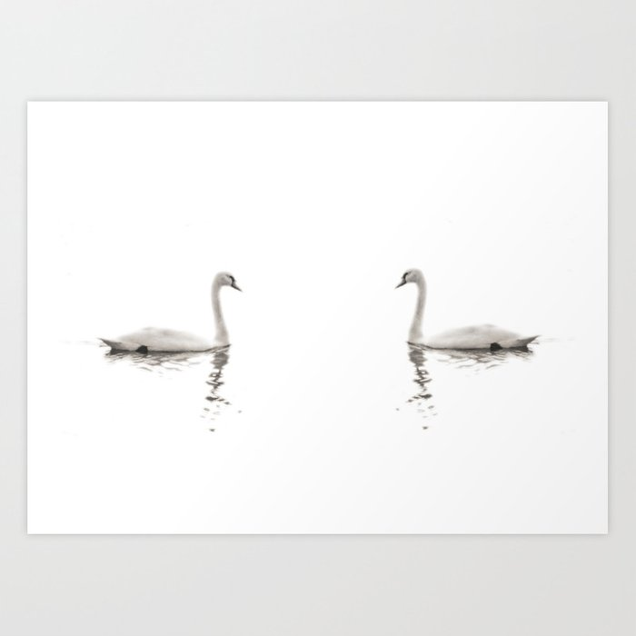 Minimalist swans in black and white art print by for Minimal art black and white