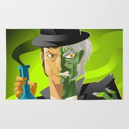 doctor jekyll and mister hyde monster tranformation with green potion Rug