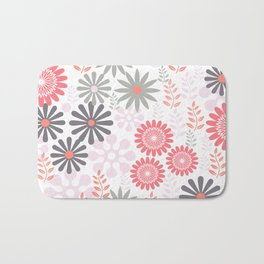 Floral pattern in pink and gray Bath Mat
