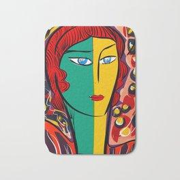Green Yellow Pop Girl Portrait French Art Illustration Bath Mat
