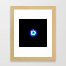 Single Evil Eye Amulet Talisman Ojo Nazar - on black Framed Art Print
