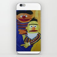 sesame street iPhone & iPod Skins featuring Sesame Street Bert and Ernie by ArtSchool