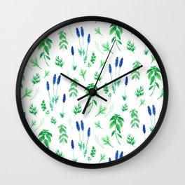 Watercolor lavender & basil Wall Clock
