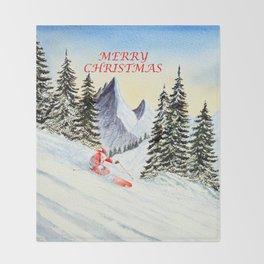Merry Christmas with Skiing Santa Throw Blanket