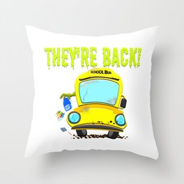 Monster Bus For Teachers and Staff Funny Back To School Gift Idea Throw Pillow