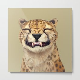 Smiling Cheetah Metal Print