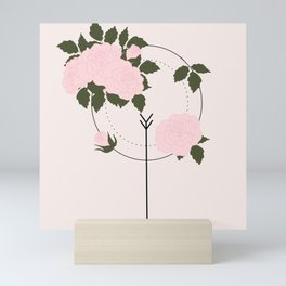 Pink roses and geometric elements Mini Art Print