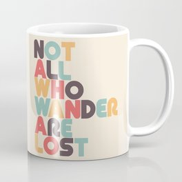 Retro Not All Who Wander Are Lost Typography Coffee Mug