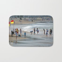 """Swim Between The Flags"" Manly Beach, Sydney Bath Mat"