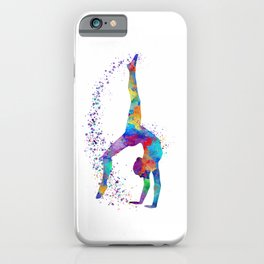 Colorful Gymnastics Tumbling Watercolor Art iPhone Case