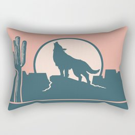 Howling at the Moon Landscape 233 Beige Green and Dusty Rose Rectangular Pillow