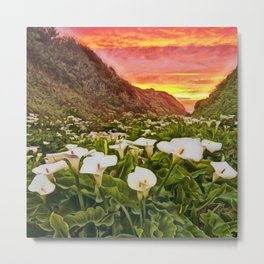 'Calla Lily Sunrise at Big Sur' Portrait Painting by Jeanpaul Ferro Metal Print