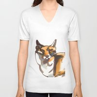 mr fox V-neck T-shirts featuring Mr Fox by Ryan Hodge Illustration
