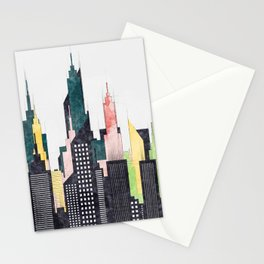 Colorful City Buildings And Skyscrapers Sketch, New York Skyline, Wall Art Poster Decor, New York Stationery Cards