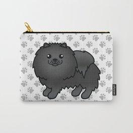 Black Pomeranian Dog Cute Cartoon Illustration Carry-All Pouch