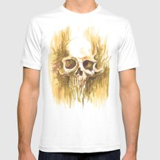 Skull Sketch MEDIUM White Mens Fitted Tee