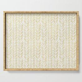 Handpainted Chevron Pattern - Gold and white Serving Tray