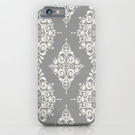 Modern Floral Damask Pattern – Neutral Medium Gray and Light Beige iPhone Case
