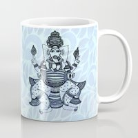 ganesha Mugs featuring Ganesha  by Sketchii Studio