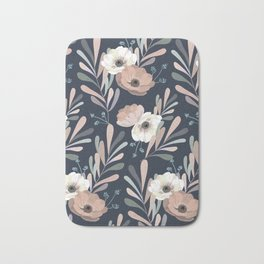Anemones & Olives blue Bath Mat