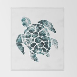 Sea Turtle - Turquoise Ocean Waves Throw Blanket