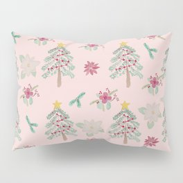 Christmas Pattern Pink Pillow Sham