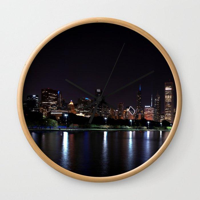 Chicago night skyline with fireworks, Usa. Wall Clock