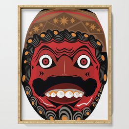 The Kelana mask from west java indonesia Serving Tray