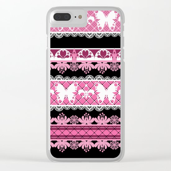 Black and pink striped pattern . Clear iPhone Case