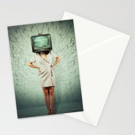 old tv head Stationery Cards