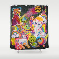 sticker Shower Curtains featuring Sticker Bomb by jajoão
