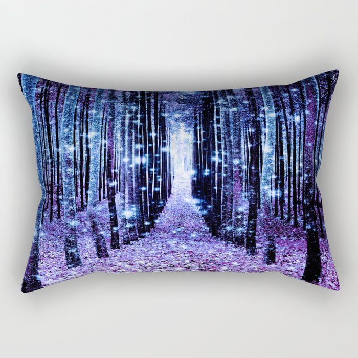 Magical Forest Turquoise Purple Rectangular Pillow