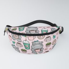 Cute Little Hippo, Hippopotamus, Donuts and Coffee, Pink Print For Girls, Little Girls, Tween Girls Fanny Pack