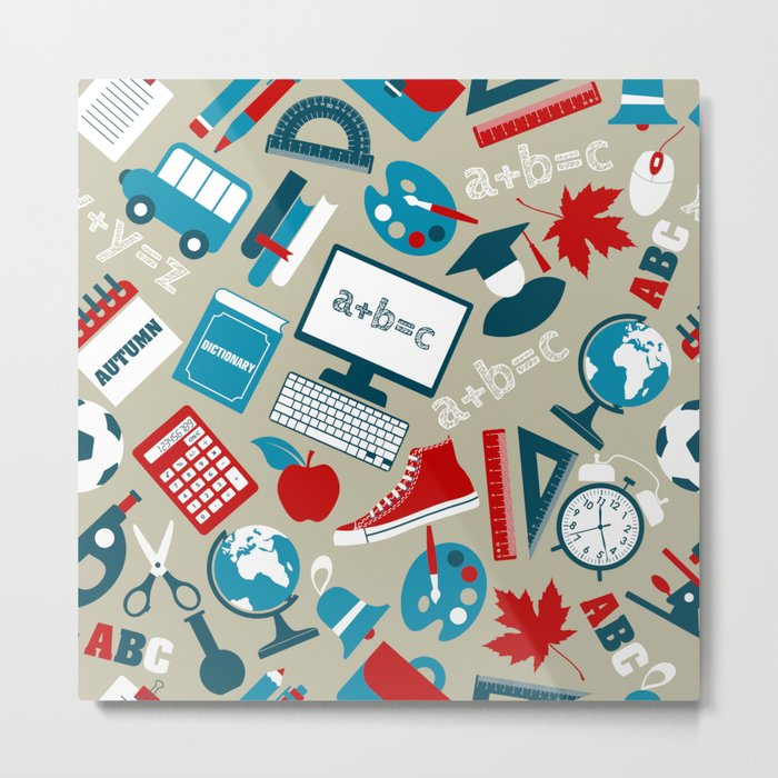 Back To School - Collage Metal Print