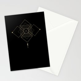 Square Geometry Black Stationery Cards