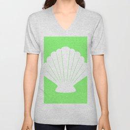 Seashell (White & Light Green) Unisex V-Neck