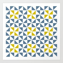 Pinwheel Quilt Blue and Yellow Art Print