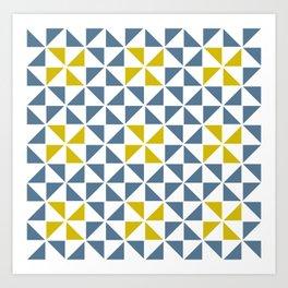 Pinwheel Quilt Blue and Yellow Art Print