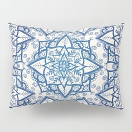 Blue Floral Pattern on Cream Pillow Sham