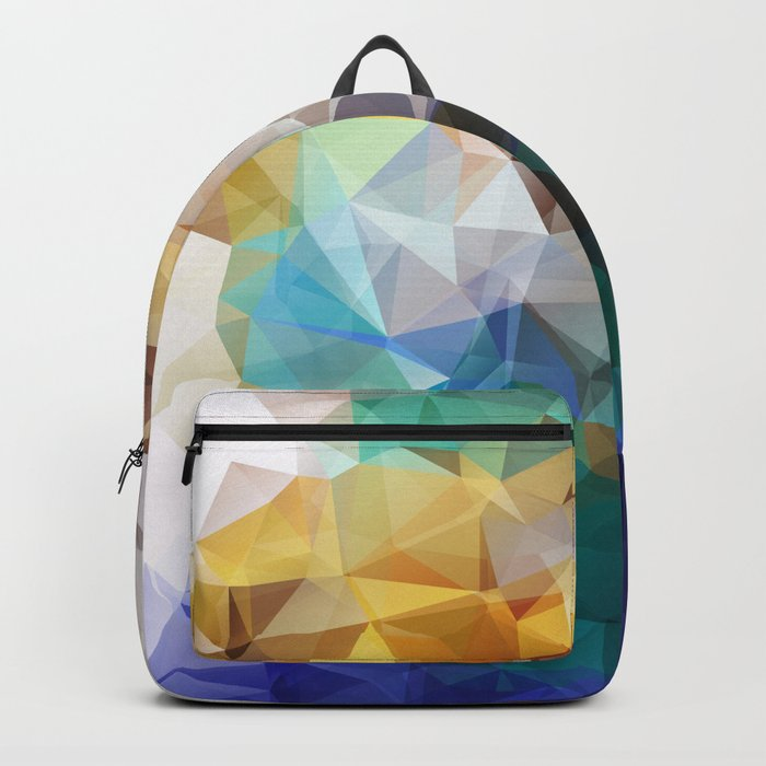 Abstract background of triangles polygon print. Bright design colors Backpack