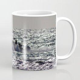 Watercolor Landscape Ocean with Boat 01, The Whale Watchers, Nova Scotia, Canada Coffee Mug