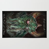 cthulhu Area & Throw Rugs featuring Cthulhu by byron rempel