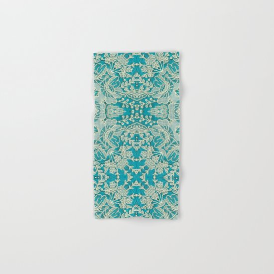 floral lace on blue Hand & Bath Towel