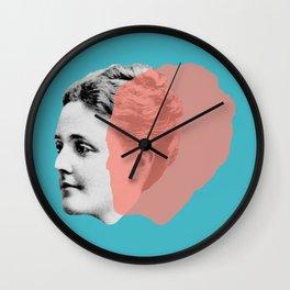 Sarah Orne Jewett - blue orange portrait Wall Clock