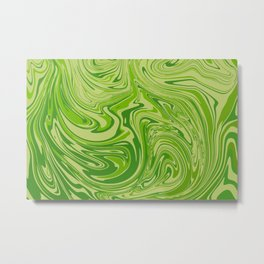 Abstract liquid green marble texture Metal Print