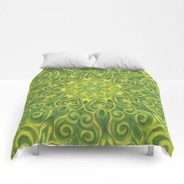 green center swirl mandala Comforters