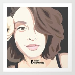 Thinking Girl Vector Art Print Art Print