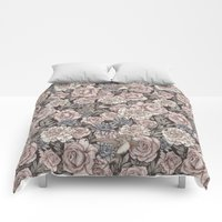 Comforters featuring Flowers & Swallows by Mike Koubou