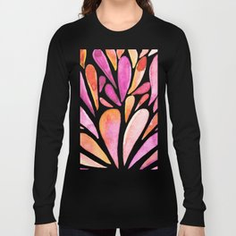 Watercolor artistic drops - pink and orange Long Sleeve T-shirt